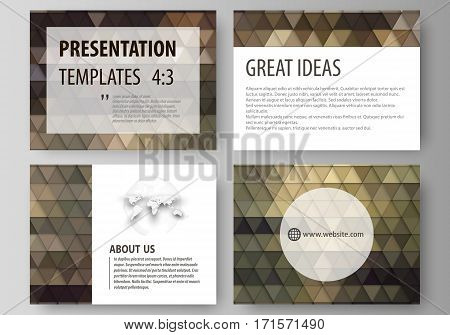 Set of business templates for presentation slides. Easy editable abstract vector layouts in flat design. Abstract multicolored backgrounds. Geometrical patterns. Triangular and hexagonal style.