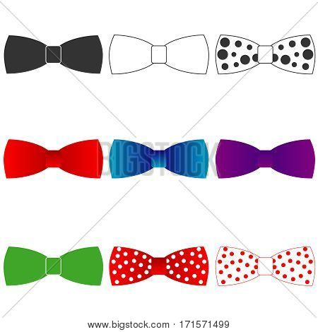 Bow tie, bow-tie icon, clothing, tie. Flat design, vector illustration, vector.