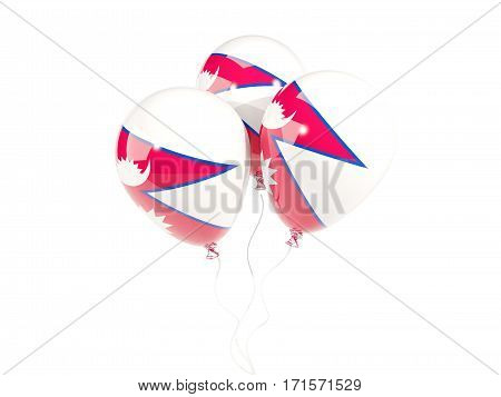Three Balloons With Flag Of Nepal