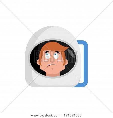 Astronaut Surprised Emoji. Cosmonaut Amazement Emotion Isolated