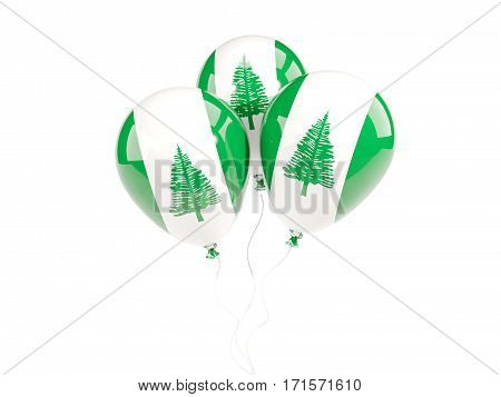 Three Balloons With Flag Of Norfolk Island