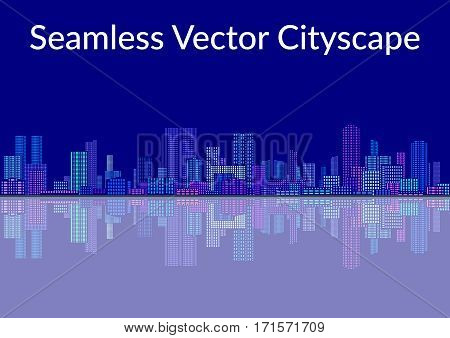 Horizontal Seamless Landscape, Tile Urban Background, Abstract Colorful City on Blue with Skyscrapers, Reflecting in the Sea. Vector