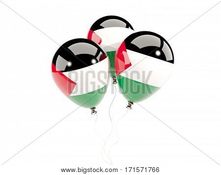 Three Balloons With Flag Of Palestinian Territory