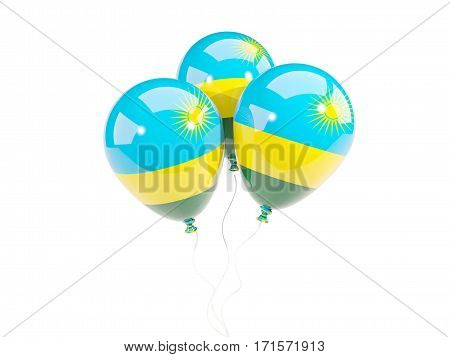 Three Balloons With Flag Of Rwanda