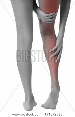 woman hands holding her beautiful healthy long leg with massaging calf and thigh in pain area black and white color with red highlighted Isolated on white background.