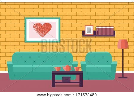 Living room Interior. Flat vector background. House design lounge with furniture sofa armchair coffee table and brick wall.