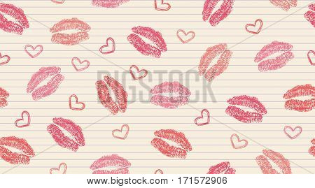 seamless pattern with kisses and hearts on striped paper