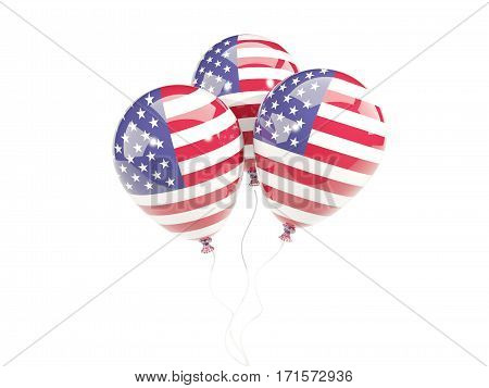 Three Balloons With Flag Of United States Of America