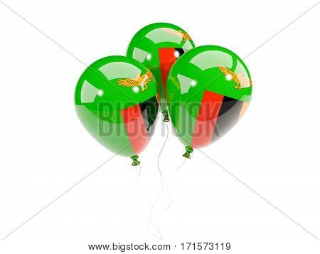 Three Balloons With Flag Of Zambia
