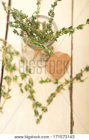 Fresh Thyme On A Glass Jar