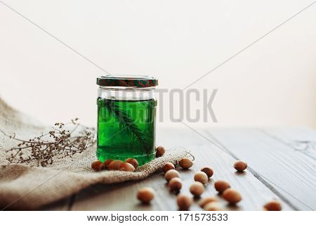 Bank therapeutic honey and hazel. The concept of food and vitamins.