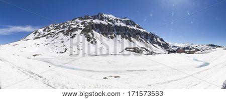 Gotthardpass, View Of The Frozen Lake To The Gotthard Pass
