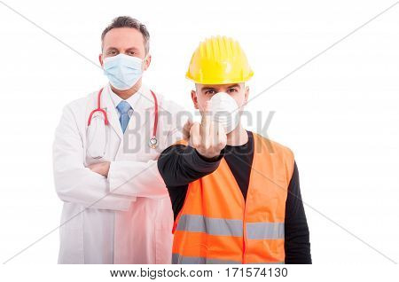 Angry Doctor And Constructor Showing Obscene Gesture