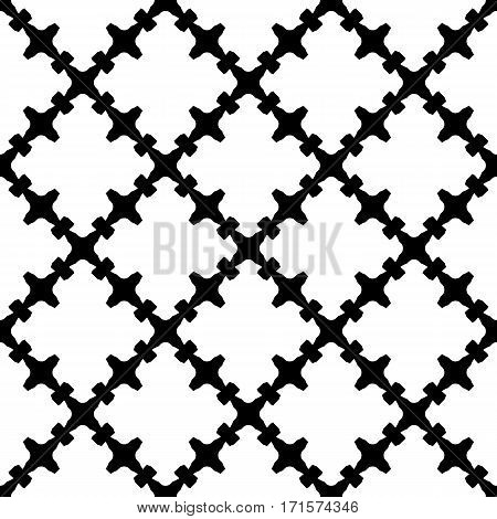 Vector monochrome seamless pattern. Abstract black & white texture with curved geometric shapes, barbed figures. Repeat tiles. Endless ornamental background, gothic style. Design for decoration, textile, wrapping, fabric, cloth, furniture, home decor