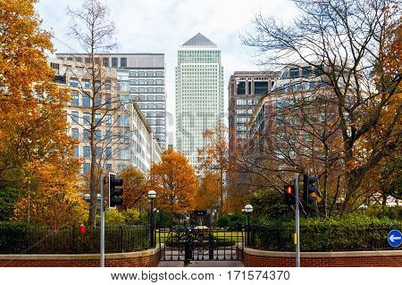 Canary Wharf Seen From Westferry Circus