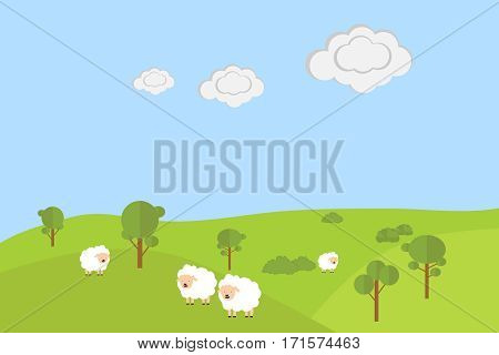 Sheep graze in a meadow, four sheep, nature. Flat design, vector illustration, vector.