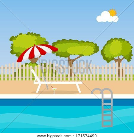 Chaise lounge with an umbrella near the pool, sun loungers icon, pool. Flat design, vector illustration, vector.