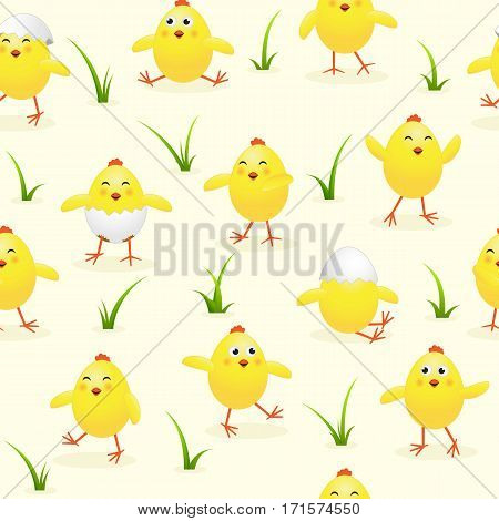 Seamless Easter background with funny yellow chicks and grass, holiday pattern, illustration.