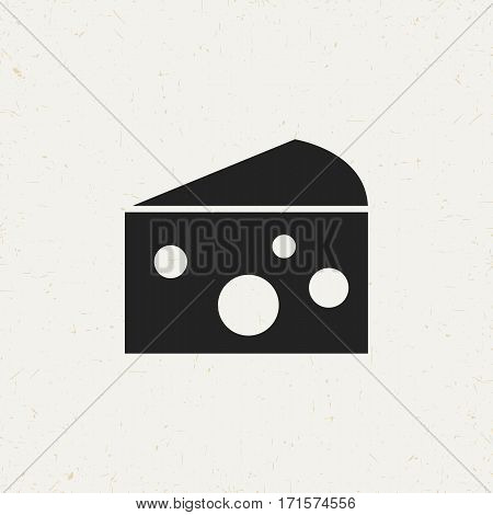 Flat monochrome cheese icon in vintage style. Isolated cheese icon for use in variety of projects. Black and white vector cheese icon for web sites and apps.
