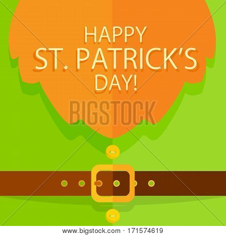 Background of green leprechaun costume with buttons, belt, buckle and red beard, holiday lettering Happy St. Patricks Day, illustration.