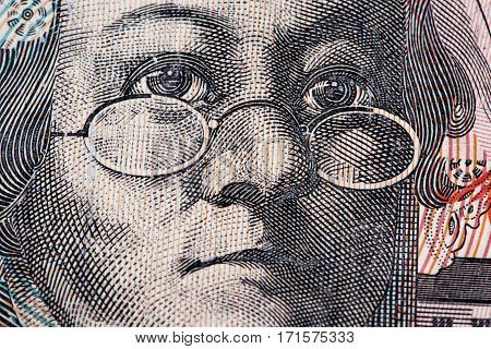 Portrait of Mary Reibey - Australian 20 dollar bill closeup