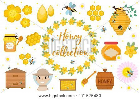 Honey collection. Beekeeping set of objects isolated on white background. Apiculture kit of design elements flat, cartoon style. Vector illustration, clip-art
