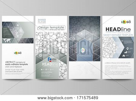 Flyers set, modern banners. Business templates. Cover design template, easy editable abstract vector layouts. Chemistry pattern, molecular texture, polygonal molecule structure, cell. Medicine, science microbiology concept
