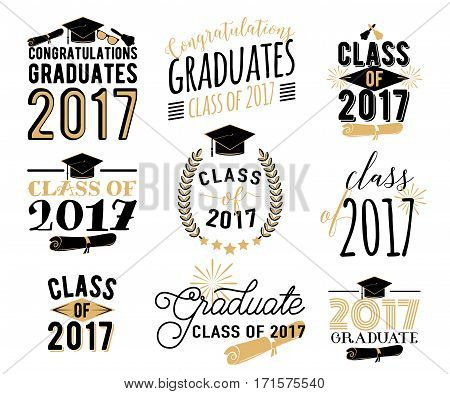Graduation wishes overlays, lettering labels design set. Retro graduate class of 2017 badges. Hand drawn emblem with sunburst, hat, diploma, bell. Isolated. Sign or logo