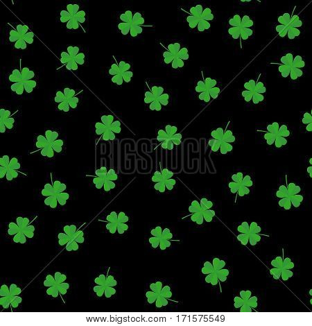 Clover leaf seamless pattern vector illustration. Clover leaves on a black background