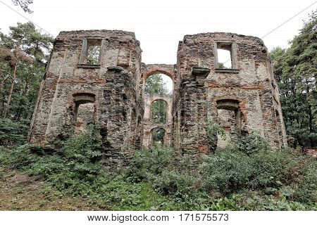 Scrubby Large summer villa ruins in the forest