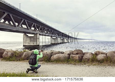 The Oresund Bridge is the longest combined road and rail bridge in Europe and connects Copenhagen the Danish capital city and the Swedish city of Malmö.
