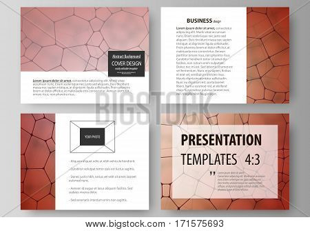 Set of business templates for presentation slides. Easy editable abstract vector layouts in flat design. Chemistry pattern, molecular texture, polygonal molecule structure, cell. Medicine, science, microbiology concept.