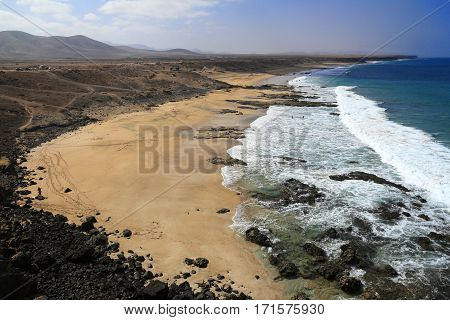 Scenic View El Cotillo Beach On Fuerteventura, Canary Islands