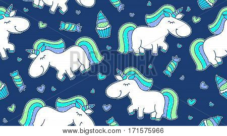 vector baby seamless pattern with unicorns and sweets