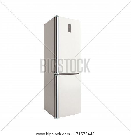 Stainless Steel Modern Open Refrigerator On White 3D Illustration No Shadow