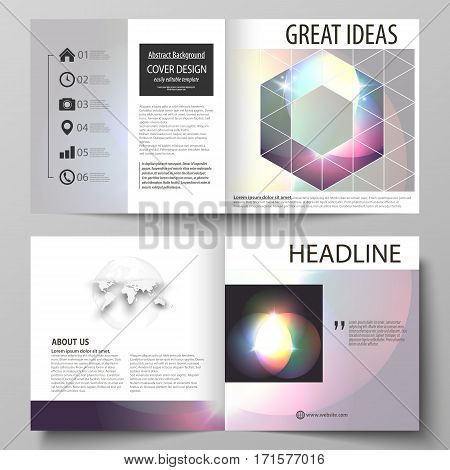 Business templates for square design bi fold brochure, magazine, flyer, booklet or annual report. Leaflet cover, abstract flat layout, easy editable vector. Retro style, mystical Sci-Fi background. Futuristic trendy design.