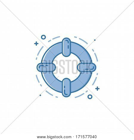 Vector business illustration of blue colors protection lifebyoy icon in linear style. Graphic design concept of online support. Outline object. Use in Web Project and Applications.
