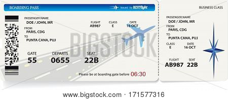 Vector pattern of airline boarding pass card ticket. Isolated on white
