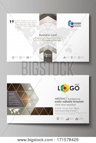 Business card templates. Easy editable layout, abstract vector design template. Alchemical theme. Fractal art background. Sacred geometry. Mysterious relaxation pattern