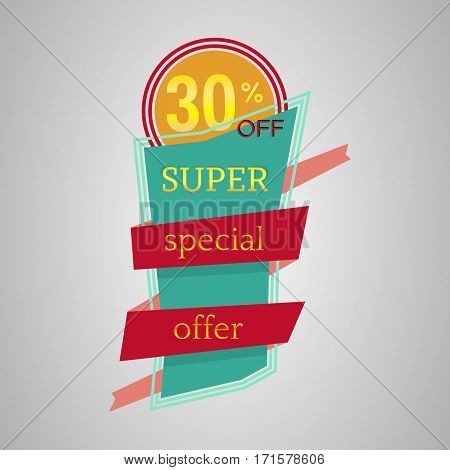 Super special offer banner with ribbon. Vector background with colorful design elements. Vector illustration.