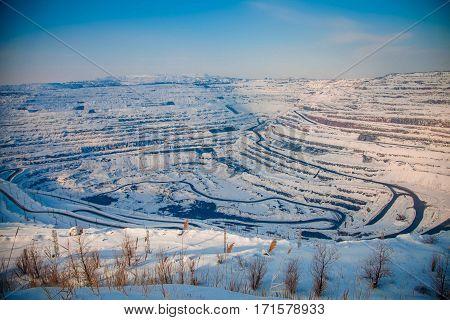 Winter mining UGOK in Krivoy Rog Ukraine