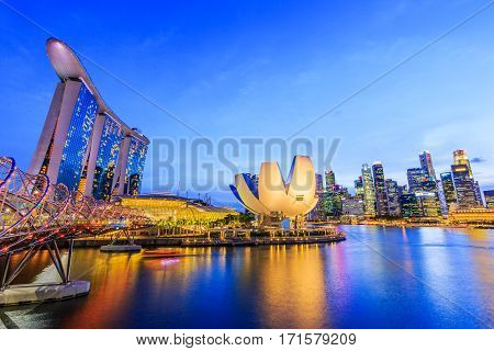 Singapore City Singapore - January 7 Singapore Skyline and view of Marina Bay at twilight.