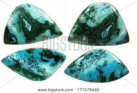chrysocolla blue and green geological mineral isolated collage