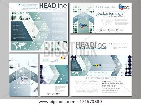 Social media posts set. Business templates. Easy editable abstract flat design template, vector layouts in popular formats. Halftone dotted background, retro style grungy pattern, vintage texture. Halftone effect with black dots on white.