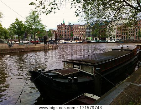 A houseboat like typical living in Amsterdam