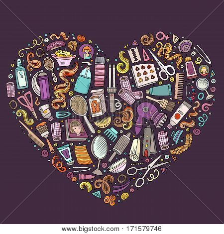 Colorful vector hand drawn set of Hair salon cartoon doodle objects, symbols and items. Heart form composition