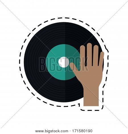 cartoon hand dj playing vinyl vector illustration eps 10