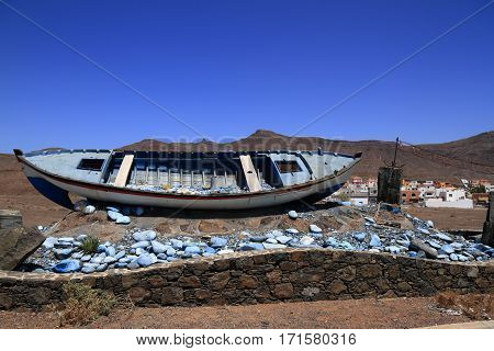 A Boat Skeleton In Fuerteventura, Canary Islands, Spain