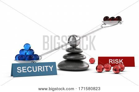 3D illustration of a seesaw containing balls with two words security and risk Financial concept over white background