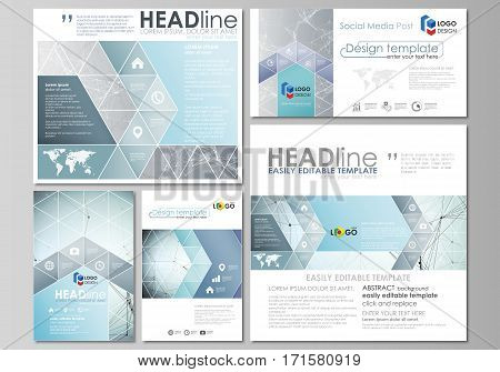 Social media posts set. Business templates. Easy editable abstract flat design template, vector layouts in popular formats. Chemistry pattern, connecting lines and dots, molecule structure, scientific medical DNA research.